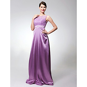 Sheath/ Column Floor-length Elastic Woven Satin Evening Dress (HSX130)