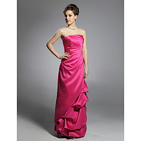 Sheath/ Column Strapless Floor-length Satin Evening Dress