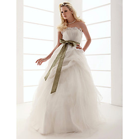 Ball Gown Strapless Floor-length Organza Wedding Dress (WSM04569)