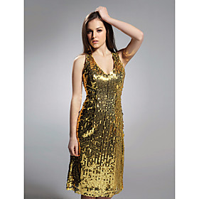 Sheath/ Column V-neck Knee-length Sequined Fabric Cocktail/ Homecoming Dress
