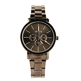Black Tone Stainless Steel Round Shape Quartz Watch For Women Black White