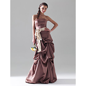 A-line Strapless  Floor-length Sleeveless Satin Prom Dress