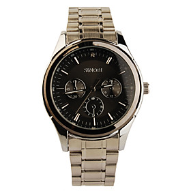 Black Bezel Stainless Steel Round Shape Quartz Watch For Men