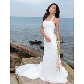 Sheath/ Column Halter Court Train Chiffon Wedding Dress