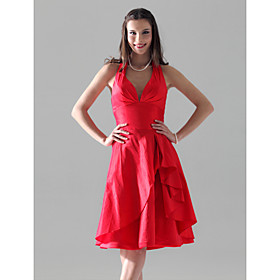 A-line Halter Knee-length Taffeta Bridesmaid/ Wedding Party Dress