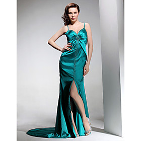Sheath/ Column Spaghetti Straps Court Train Elastic Woven Satin Evening Dress (HSX318)