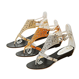 PU Leather Upper Low Heel Sandals With Buckle Casual Shoes.More Colors Available