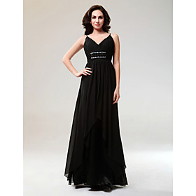 Sheath/ Column V-neck Floor-length Elastic Satin Chiffon Evening Dress