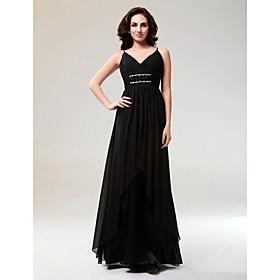 Sheath/ Column V-neck Floor-length Elastic Satin Chiffon Evening Dress