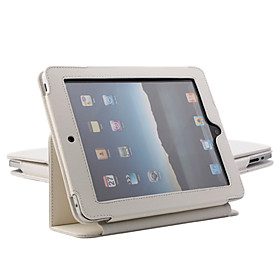 Protective Hard PU Leather Case  Stand for Apple iPad (White)
