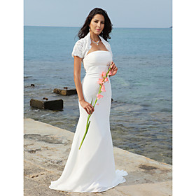 Trumpet/ Mermaid Strapless Sweep/ Brush Train Chiffon Satin Wedding Dress With A Wrap