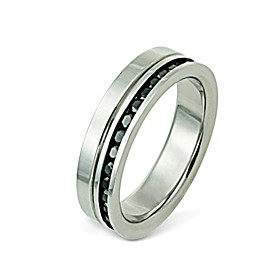 Fashion Man's Titanium With CZ Cubic Zirconia Steel Ring (RSS18)
