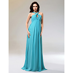 Sheath/ Column Halter Floor-length Chiffon Matte Satin Evening Dress (BNSH002)
