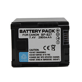 BP-827 Compatible 7.4V 2800mAh Battery Pack for Canon HF10 and More