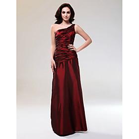 Sheath/ Column One Shoulder Floor-length Taffeta Evening Dress