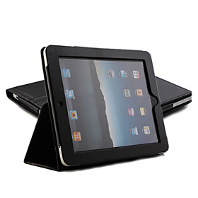 Protective Hard PU Leather Case  Stand for Apple iPad (Black)