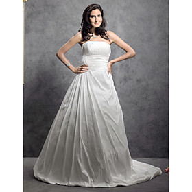 A-line Strapless Court Train Taffeta Weddding Dress