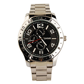 Black Tone Stainless Steel Round Shape Quartz Watch For Men