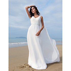 Sheath/ Column V-neck Floor-length Chiffon Elastic Woven Satin Wedding Dress With A Removable Train
