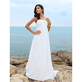 Sheath/ Column Spaghetti Straps Sweep/ Brush Train Chiffon Over Satin Wedding Dress