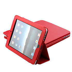 Protective PU Hard Leather Case  Stand for Apple iPad (Red)