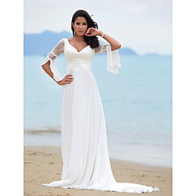 A-line Sweep/ Brush Train Satin Chiffon Wedding Dress (YCF150)