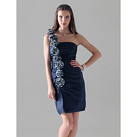 Sheath/ Column One Shoulder Short/ Mini Elastic Woven Satin Cocktail Dress With Flower