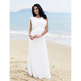 Side-Draped Sheath / Column Bateau Floor-length Chiffon Wedding Dress