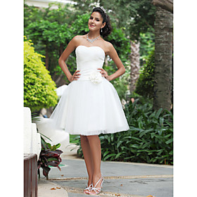 Ball Gown Sweetheart Knee-length Wedding Dress With 3D Floral