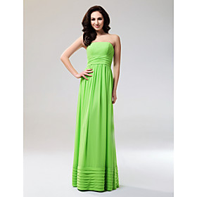 Sheath/ Column Strapless Floor-length Chiffon Elastic Woven Satin Evening Dress