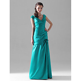 Trumpet/ Mermaid V-neck Floor-length Satin Bridesmaid Dress