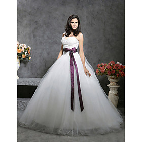 Satin Tulle Ball Gown Sweetheart Chapel Train Wedding Dress inspired by Kate Huds in Bride Wars