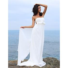 Sheath/ Column Sweetheart Chiffon Backless Court Train Wedding Dress