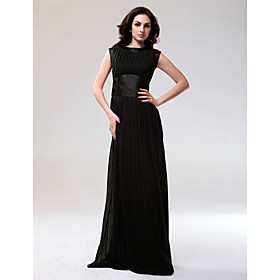 Chiffon Stretch Satin Sheath/ Column Bateau Floor-length Evening Dress inspired by Blake Lively