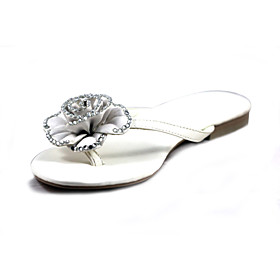 Microfiber PU Upper Flat Flip Flops With Flower Honeymoon Shoes.More Colors Available