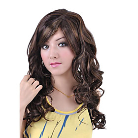 Capless Long High Quality Synthetic Brown with Light Blonde Curly Hair Wig