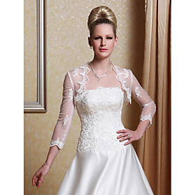 Long Sleeves Tulle With Appliques/ Pattern Bridal Jacket/ Wedding Wrap (168052)