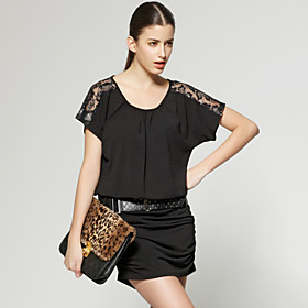 Shoulder Perspective Lace Short Sleeves Gathered Dress / Women's Dresses (FF-A-CB1200006)