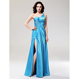 A-line One Shoulder Floor-length Elastic Woven Satin Evening Dress