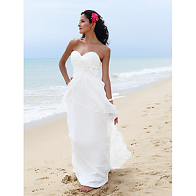 Sheath/ Column Sweetheart Floor-length Chiffon Elastic Woven Satin Wedding Dress
