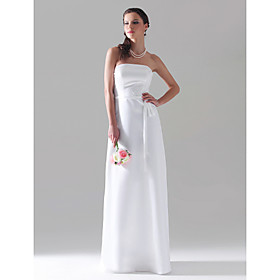 Sheath / Column Strapless Floor-length Satin Bridesmaid/ Wedding Party Dress