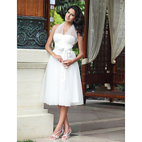 Empire Halter Knee-length Satin Tulle Wedding Dress