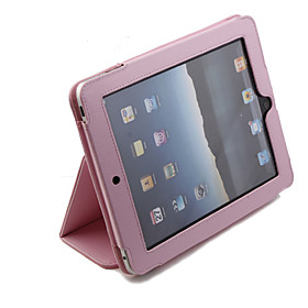 Protective Hard PU Leather Case  Stand for Apple iPad (Pink)