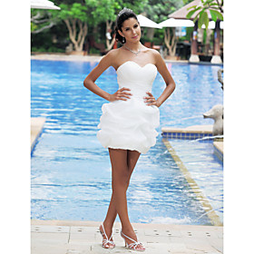 A-line Princess Strapless Sweetheart Short/ Mini Satin Weddding Dress