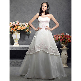 A-line / Princess Spaghetti Straps Sleeveless Floor-length Satin Wedding Dress