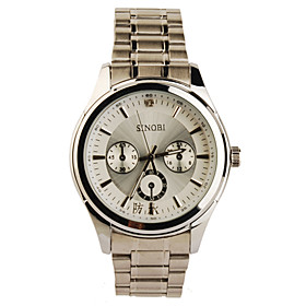 Silvery Bezel Stainless Steel Round Shape Quartz Watch For Men