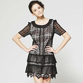 Special Lace Perspective Short Sleeves Layered Hem Dress / Women'sLace  Dresses (FF-A-CB1200015)