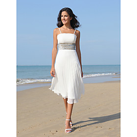 A-line Spaghetti Straps Knee-length Satin Chiffon Wedding Dress
