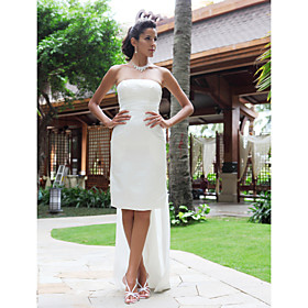 Sheath/ Column Strapless Knee-length Satin Wedding Dress With Removable Watteau Train