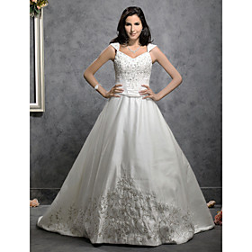 A-line/ Princess Chapel Train Satin Wedding Dress with Beaded Embroidery